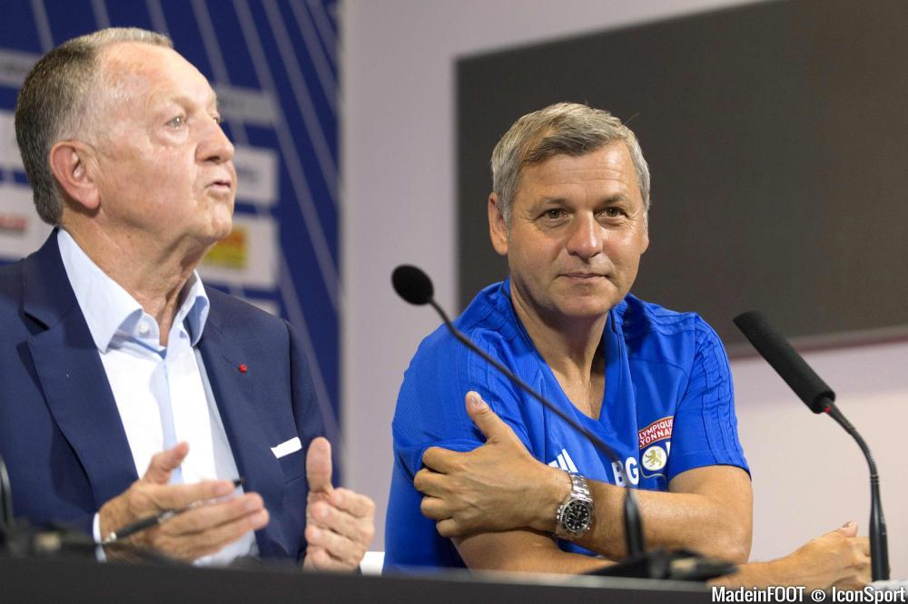 Jean-Michel Aulas, le président de l'OL, ici au côté de Bruno Genesio.