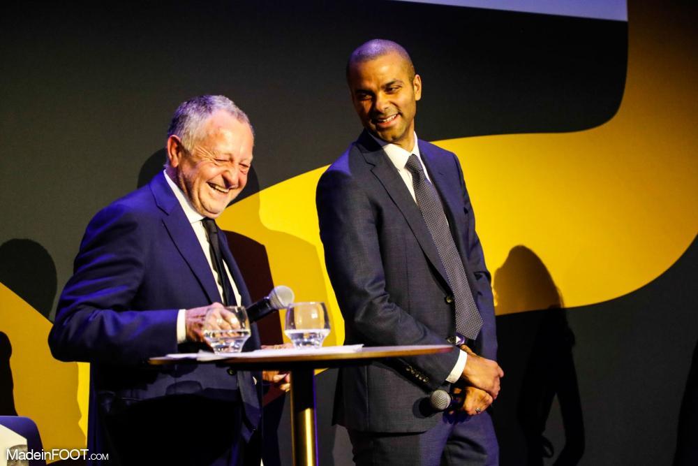 Tony Parker, le président de l'ASVEL, ici aux côtés de Jean-Michel Aulas, le président de l'OL.