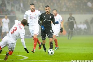 Rachid Ghezzal pendant la rencontre Lyon - Séville en Ligue des Champions