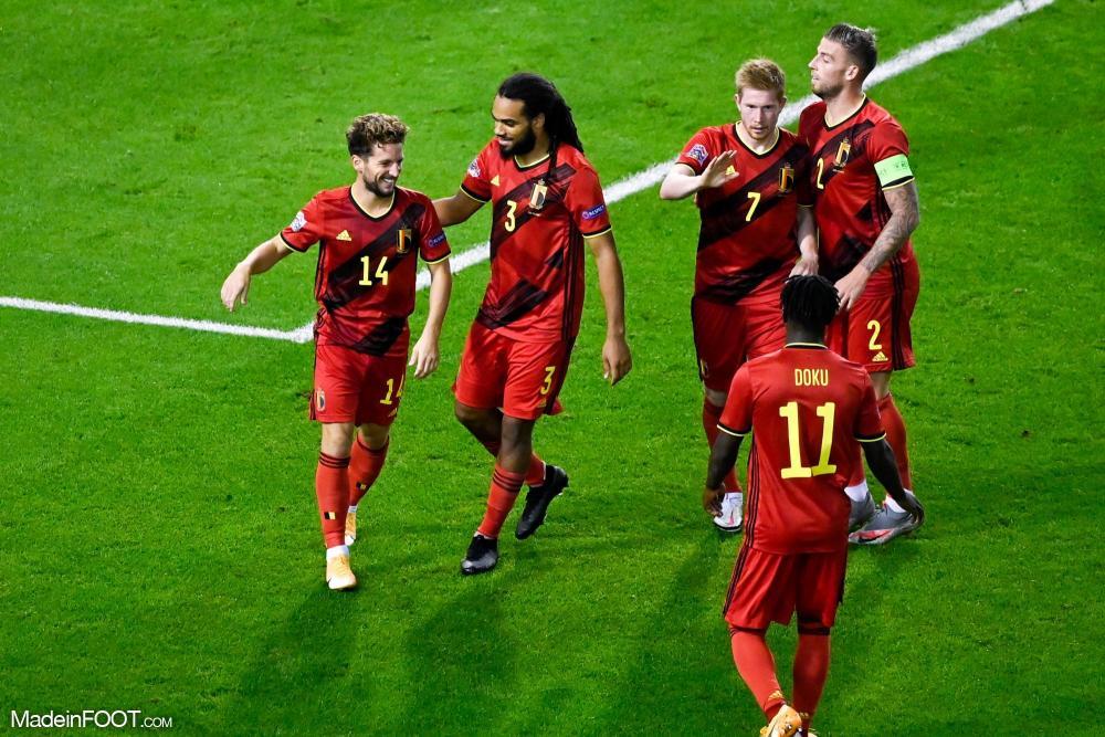 La joie des joueurs belges contre l'Islande
