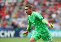Germany's Julian Pollersbeck celebrates his sides opening goal during the UEFA Under 21 Semi Final match between England and Germany on June 27th 2017 at Stadion Miejski, Tychy